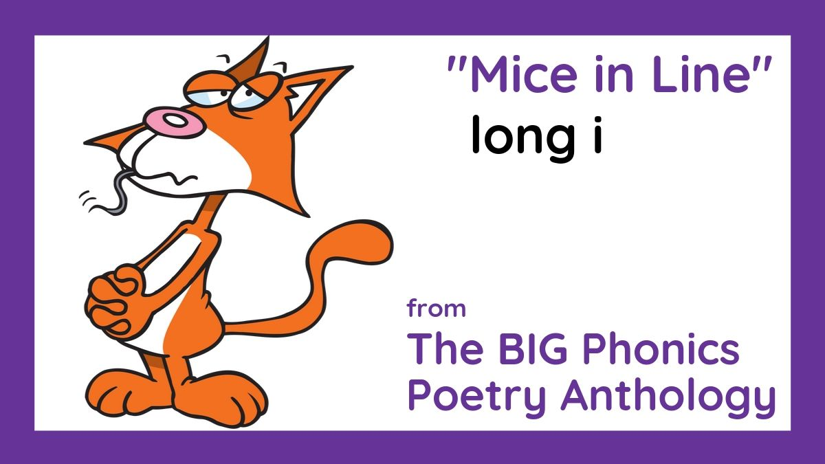 """Image of cat eating mouse from phonics poem, """"Mice in Line,"""" by Lorrie L. Birchall"""