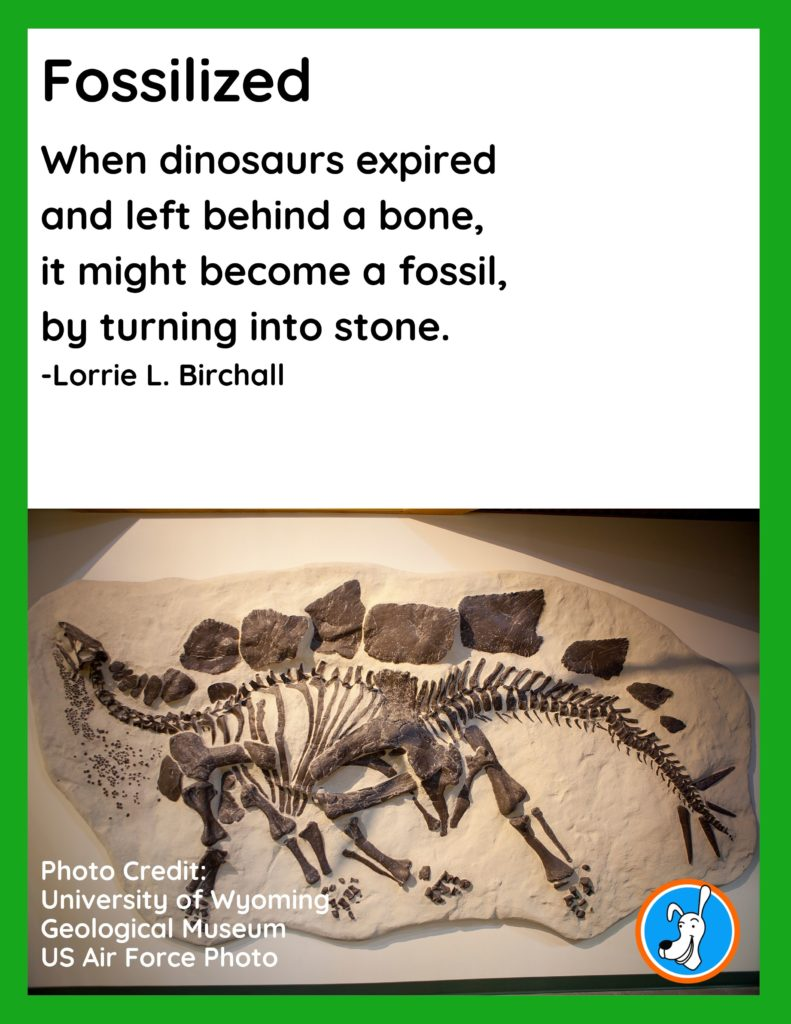 """Image of dinosaur poem, """"Fossilized,"""" by Lorrie L. Birchall"""