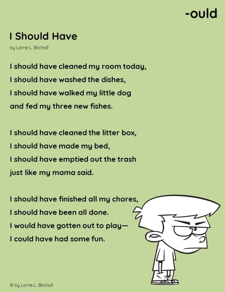 """Image of -ould word family poem,"""" I Should Have,"""" by Lorrie L. Birchall"""