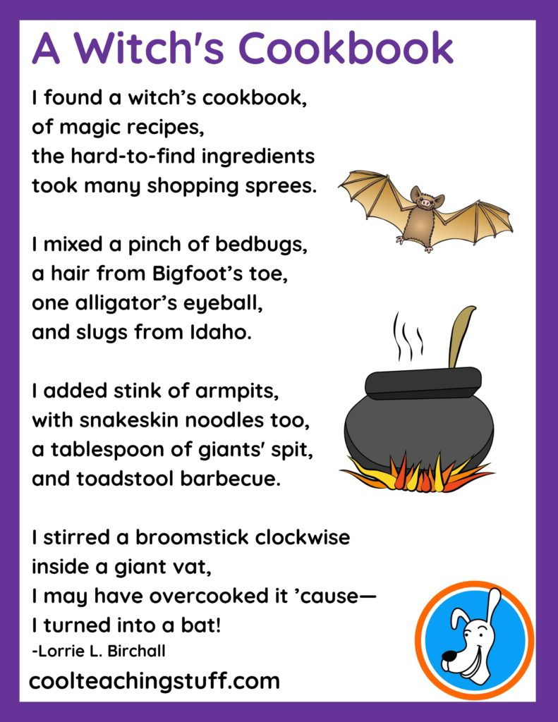 """Image of Halloween poem, """"A Witch's Cookbook,"""" by Lorrie L. Birchall"""