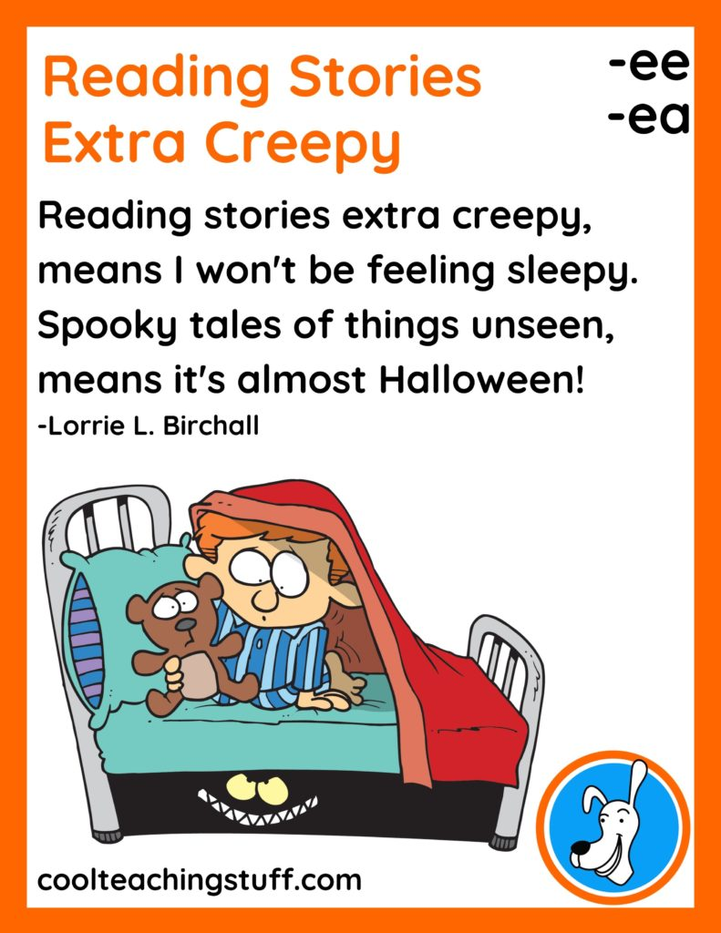 """Image of Halloween poem, """"Reading Stories Extra Creepy,"""" by Lorrie L. Birchall"""