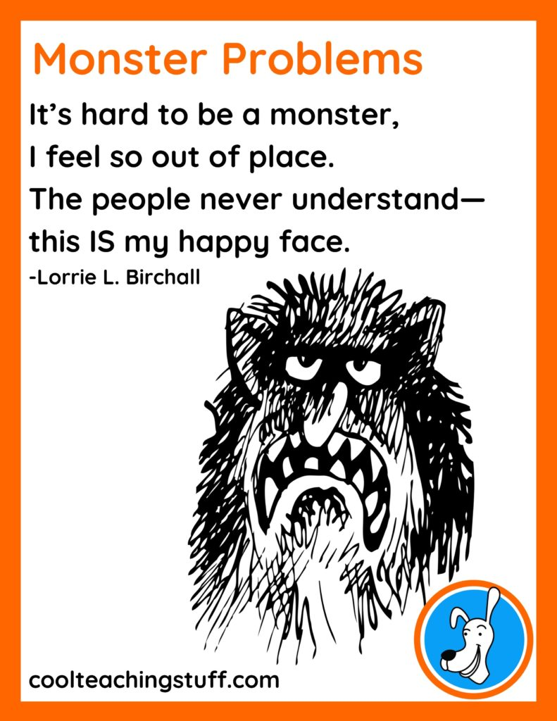 """Image of Halloween poem, """"Monster Problems,"""" by Lorrie L. Birchall"""