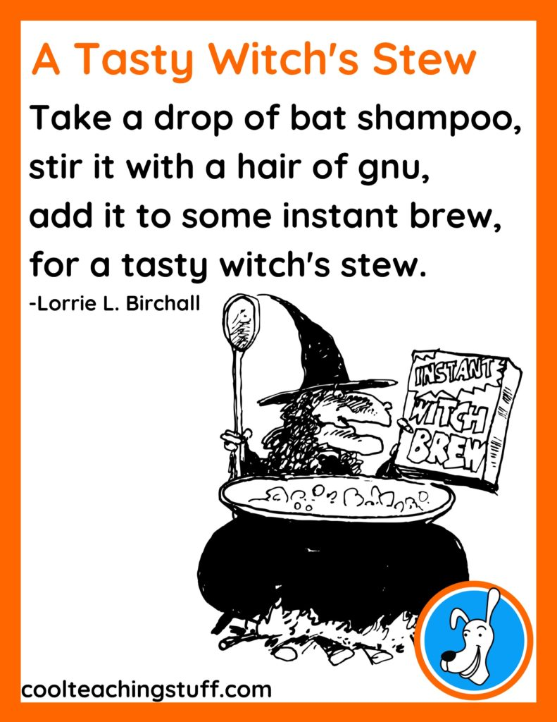 """Image of Halloween poem, """"A Tasty Witch's Stew,"""" by Lorrie L. Birchall"""