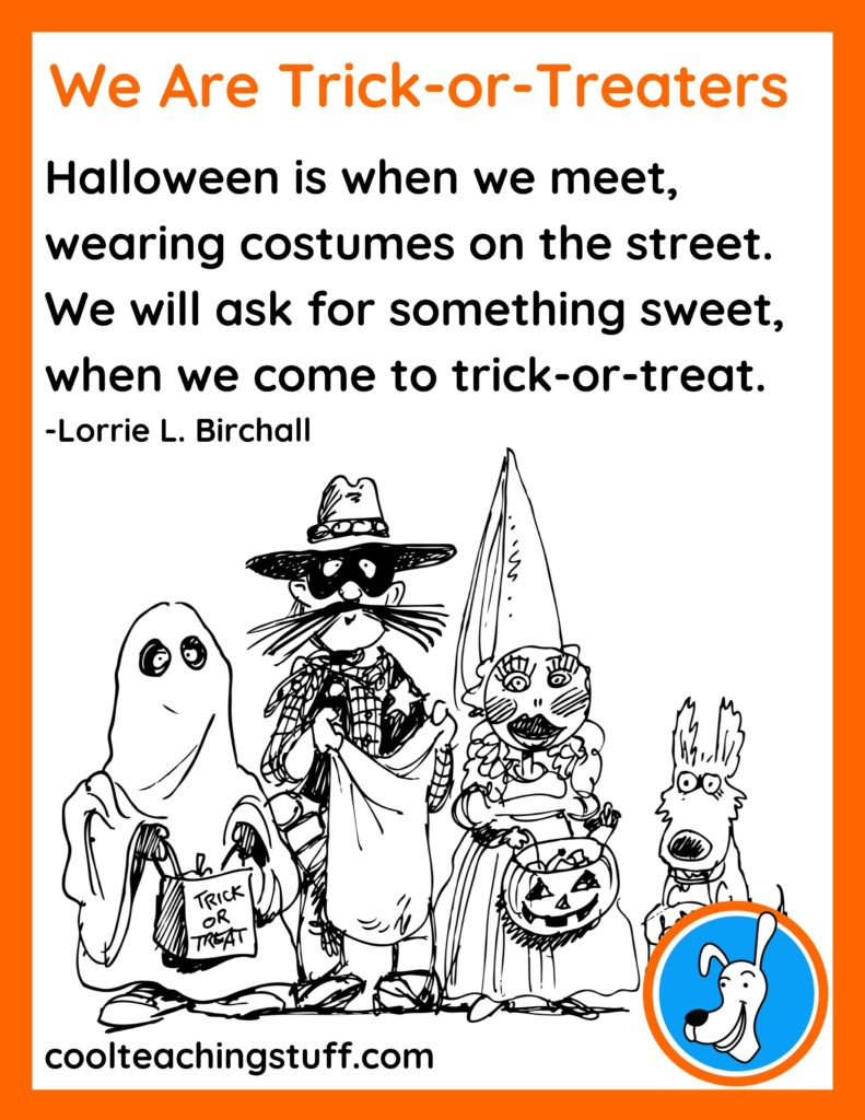 """Image of Halloween poem, """"We Are Trick-or-Treaters,"""" by Lorrie L. Birchall"""