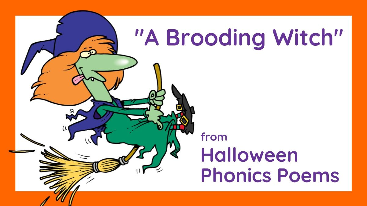 """Image of """"A Brooding Witch,"""" from Halloween Phonics poems by Lorrie L. Birchall"""