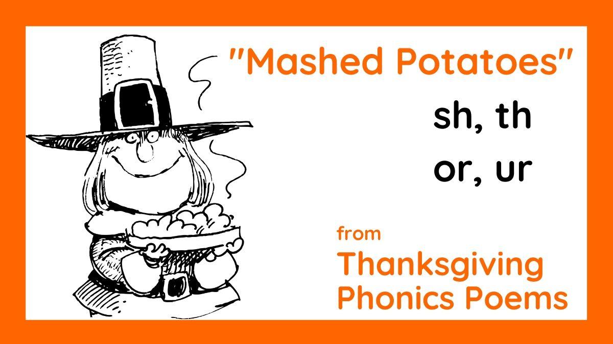 Image of Thanksgiving pilgrim holding mashed potatoes