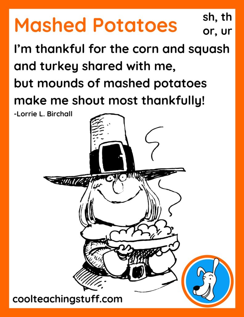 """Image of Thanksgiving phonics poem, """"Mashed Potatoes,"""" by Lorrie L. Birchall"""