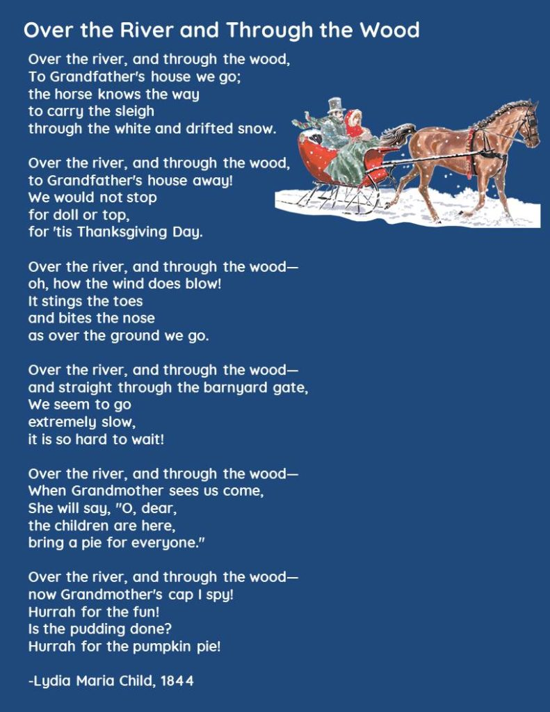 """Image of Thanksgiving poem, """"Over the River and Through the Wood,"""" by Lydia Maria Child"""
