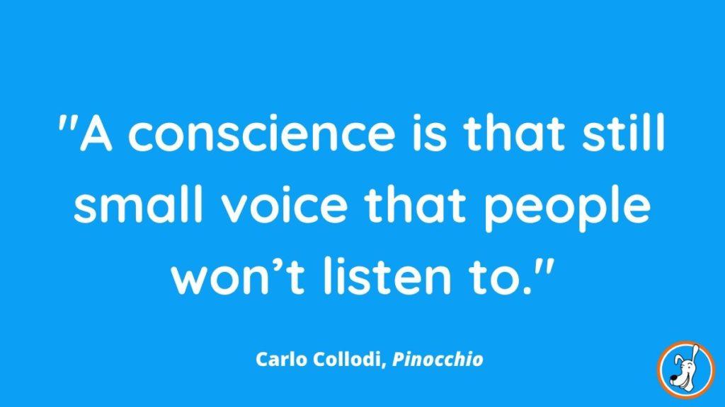 children's book quote from Pinocchio by Carlo Collodi