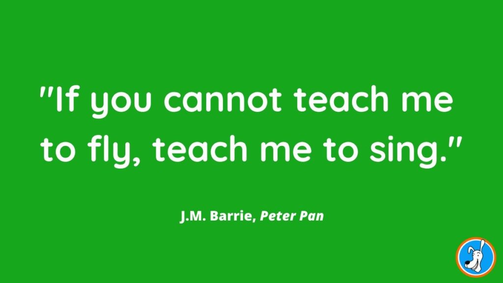 children's book quote from Peter Pan by J.M. Barrie