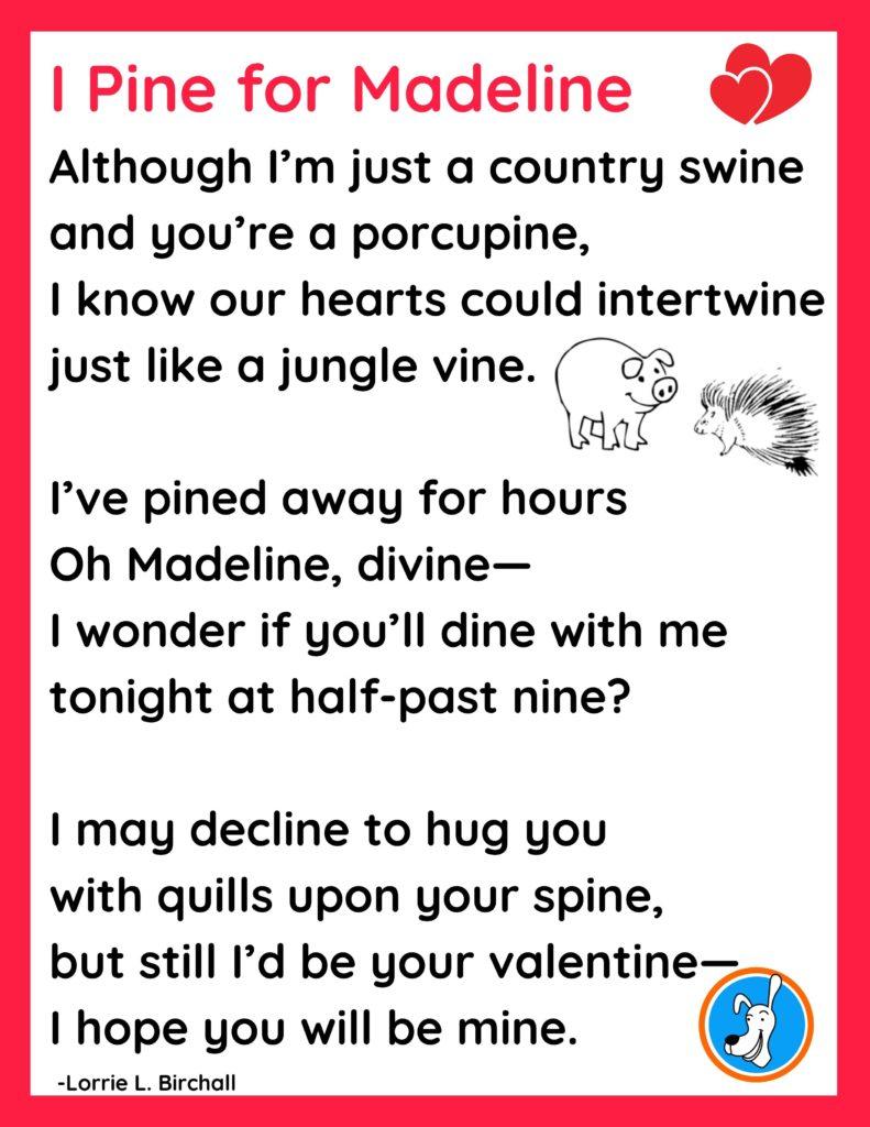 """I Pine for Madeline,"" Valentine's Dayphonics poem by Lorrie L. Birchall"