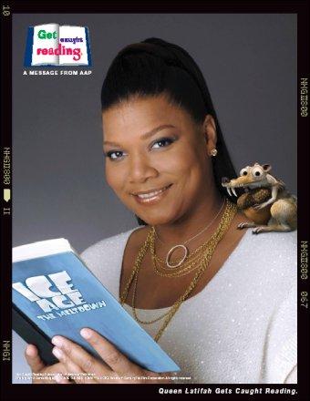 image Queen Latifah reading a book